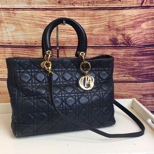 Christian Dior Navy Lady Dior Cannage Shoulder Bag
